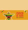 happy cinco de mayo banner mariachi man vector image vector image