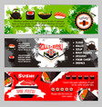 japanese restaurant sushi menu banners set vector image