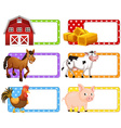 Labels with different farm animals vector image vector image