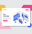 landing page template social media hashtags vector image vector image