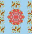 leaves on a blue brown and orange colors doodle vector image vector image