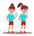 little girl child drink milk isolated vector image