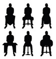man silhouette set sitting leisure vector image vector image