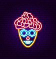 mexican catrina neon sign vector image