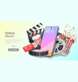mobile movie theater online cinema watching vector image