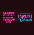 neon banner alphabet font bricks wall open welcome vector image vector image