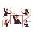 online graduation virtual party people vector image
