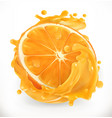 orange juice fresh fruit 3d realism icon vector image vector image