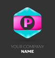 realistic letter p logo in colorful hexagonal vector image vector image