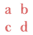 Red sketch font set - lowercase letters a b c d vector image vector image
