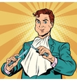 Retro man eats in the hands holding a knife and vector image vector image
