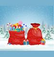 santa claus red bag vector image vector image
