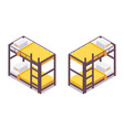 set isometric bunk bed for hostels hotels small vector image