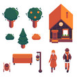 set of autumn city elements in vector image vector image