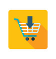 shopping cart with an arrow icon vector image vector image