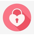 Single flat heart padlock icon vector image