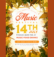 summer festival poster with tropical leaves vector image vector image