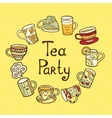 Tea Party Card with doodle cups vector image vector image