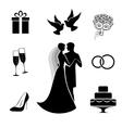 Wedding icon collection isolated on white vector image vector image