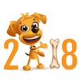 yellow dog symbol 2018 year on chinese calendar vector image vector image