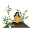 yoga at home meditation young woman or mom vector image