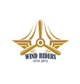 aviation retro badge with airplane propeller vector image