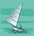 competitions of boats on the water vector image