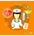 Doctor nurse concept flat icons set vector image