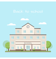 school building clouds and trees vector image