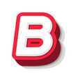 3d bold funny letter b heavy type for modern vector image vector image