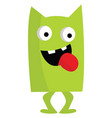 a happy monster green in color looks terrifying vector image vector image