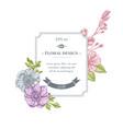 badge design with pastel anemone iris japonica vector image