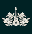 banner with electric guitar and wings vector image