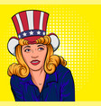 beautiful young woman in hat of uncle sam vector image vector image