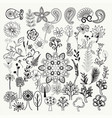 big collection of hand-drawn black and white vector image