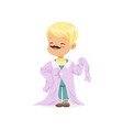 blonde boy with mustache wearing dult oversized vector image vector image