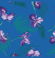 blue and purple tropical orchids seamless vector image