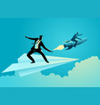 businessman on paper plane compete vector image
