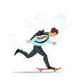 businessman on skateboard hurrying to the office vector image