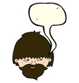 cartoon bearded man with speech bubble vector image