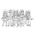 children in carnival costumes for party vector image vector image