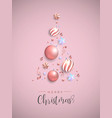 christmas pink pine tree decoration layout card vector image