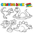 coloring book with dinosaurs 1 vector image vector image