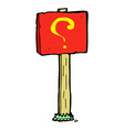 comic cartoon question mark sign post vector image vector image