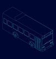 contour bus blue lines on a dark vector image vector image