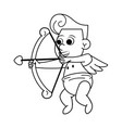 cupid with love arch in black and white vector image vector image