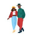 cute african american couple wearing trendy vector image
