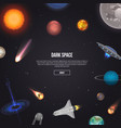 dark space banner with cosmic elements vector image