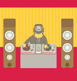 dj character music musical entertainment flat vector image vector image
