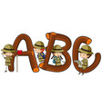 english alphabets and kids in safari outfit vector image vector image